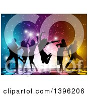Clipart Of A Background Of Silhouetted Young Adults Dancing On A Lit Floor Over Lights Royalty Free Vector Illustration