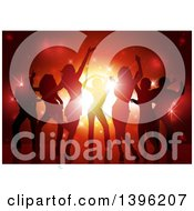 Clipart Of A Background Of Silhouetted Young Adults Dancing Over Red Lights Royalty Free Vector Illustration by dero