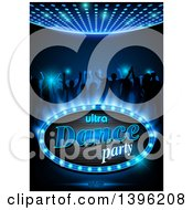 Silhouetted Young Adults Dancing On Blue With Ultra Dance Party Nightlife Text