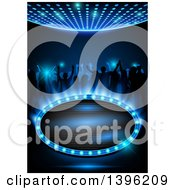 Clipart Of Silhouetted People Dancing On Blue With A Frame And Text Space Royalty Free Vector Illustration by dero