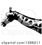 Clipart Of A Black And White African Giraffe Royalty Free Vector Illustration by dero