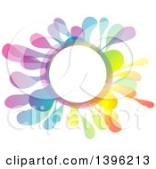 Clipart Of A Colorful Creative Color Splash Circle Frame Royalty Free Vector Illustration