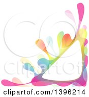 Clipart Of A Colorful Creative Color Splash Triangular Corner Frame Royalty Free Vector Illustration