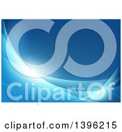 Clipart Of A Blue Background With Flares And Waves Royalty Free Vector Illustration