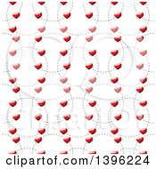 Clipart Of A Seamless Pattern Background Of Shiny Red Hearts On Dotted Circles Royalty Free Vector Illustration by michaeltravers