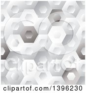 Clipart Of A Seamless Pattern Background Of Shiny Hexagons Royalty Free Vector Illustration