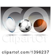 Clipart Of 3d Floating Rugby Soccer And Basketball Balls Over Waves Royalty Free Vector Illustration