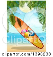 Clipart Of A Bingo Ball Surfboard On A Tropical Beach Royalty Free Vector Illustration by elaineitalia