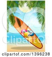 Clipart Of A Bingo Ball Surfboard On A Tropical Beach Royalty Free Vector Illustration