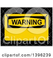 Clipart Of A Yellow Warning Sign On A 3d Fence Royalty Free Vector Illustration