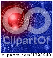 Clipart Of A Sparkly Blue Tunnel With A Red Light At The End Royalty Free Vector Illustration by elaineitalia
