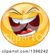 Clipart Of A Cartoon Evil Laughing Yellow Smiley Face Emoji Emoticon Royalty Free Vector Illustration