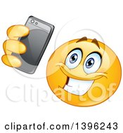 Clipart Of A Cartoon Yellow Smiley Face Emoji Emoticon Taking A Selfie Royalty Free Vector Illustration by yayayoyo
