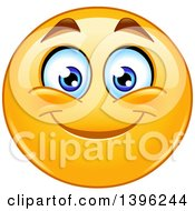Clipart Of A Cartoon Yellow Smiley Face Emoji Emoticon Smiling Royalty Free Vector Illustration