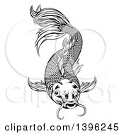 Clipart Of A Black And White Woodcut Oriental Styled Koi Fish Royalty Free Vector Illustration by AtStockIllustration
