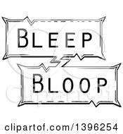 Clipart Of A Retro Black And White Pop Art Comic Styled Bleep Bloop Sound Effect Royalty Free Vector Illustration