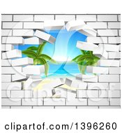 Clipart Of A Hole In A 3d White Brick Wall Revealing A Tropical Beach Royalty Free Vector Illustration