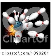 Poster, Art Print Of 3d Fiery Bowling Ball Crashing Into Pins Over Black