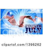 Long Waving American Flag And Fourth Of July Text Over Blue Sky With Sun Rays