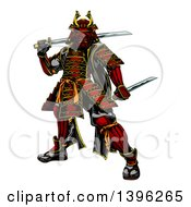 Clipart Of A Tough Japanese Samurai Warrior Holding Swords Royalty Free Vector Illustration by AtStockIllustration