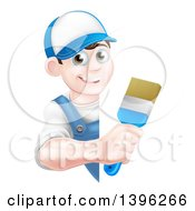 Poster, Art Print Of Happy Young Brunette Caucasian Male House Painter Holding A Brush Around A Sign