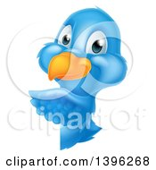 Clipart Of A Happy Blue Bird Pointing Around A Sign Royalty Free Vector Illustration
