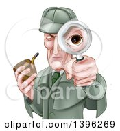 Cartoon Caucasian Male Detective Like Sherlock Homes Looking Through A Magnifying Glass And Holding A Pipe