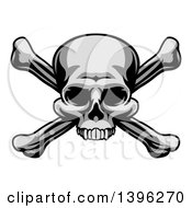 Clipart Of A Grayscale Jolly Roger Pirate Skull Over Cross Bones Royalty Free Vector Illustration