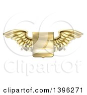 Clipart Of A 3d Gold Metal Heraldic Winged Shield With A Blank Banner Ribbon Royalty Free Vector Illustration