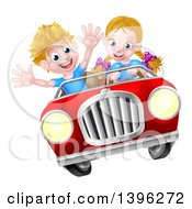 Clipart Of A Blond White Girl Driving A Boy In A Red Convertible Car Catching Air Royalty Free Vector Illustration by AtStockIllustration