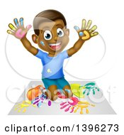 Clipart Of A Cartoon Happy Black Boy Kneeling And Painting Artwork With His Hands Royalty Free Vector Illustration by AtStockIllustration