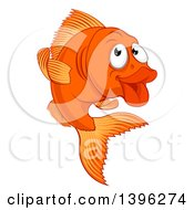 Clipart Of A Cartoon Happy Goldfish Royalty Free Vector Illustration by AtStockIllustration