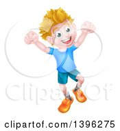 Clipart Of A Cartoon Happy Excited Blond Caucasian Boy Jumping Royalty Free Vector Illustration by AtStockIllustration