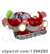 Cartoon Red Car Character Holding A Thumb Up And A Scrub Brush