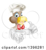 Poster, Art Print Of Cartoon Happy White And Brown Chef Chicken Wearing A Toque Hat And Giving A Thumb