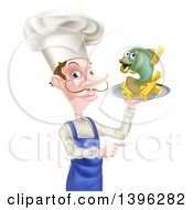 White Male Chef With A Curling Mustache Holding A Fish And Chips On A Tray And Pointing