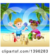 Clipart Of A Happy White Boy And Black Girl Playing And Making Sand Castles On A Tropical Beach Royalty Free Vector Illustration by AtStockIllustration