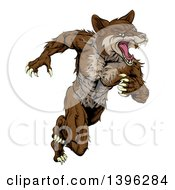 Clipart Of A Running Brown Muscular Coyote Man Royalty Free Vector Illustration by AtStockIllustration
