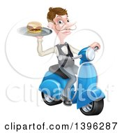 Cartoon Caucasian Male Waiter With A Curling Mustache Holding A Burger On A Tray On A Moped
