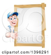Clipart Of A Happy Middle Aged Brunette Caucasian Handy Man In Blue Wearing A Baseball Cap Giving A Thumb Up Around A Wood Framed Sign Royalty Free Vector Illustration by AtStockIllustration
