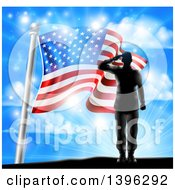 Clipart Of A Black Silhouetted Solder Saluting On A Hill Top Over An American Flag And Sky Royalty Free Vector Illustration by AtStockIllustration