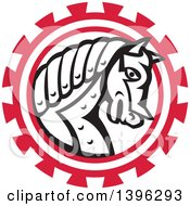 Clipart Of A Retro Black And White War Horse In A Red Gear Royalty Free Vector Illustration by patrimonio