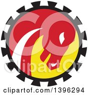 Clipart Of A Retro War Horse Head In A Black Red White And Yellow Gear Circle Royalty Free Vector Illustration