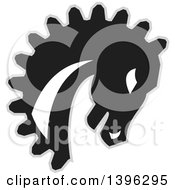 Clipart Of A Retro Black White And Gray Horse Head With A Gear Teeth Mane Royalty Free Vector Illustration