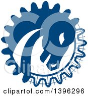Clipart Of A Retro War Horse Head In A Blue Gear Circle Royalty Free Vector Illustration