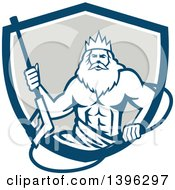 Clipart Of A Retro Man Neptune Holding Pressure Washer Wand In A Blue White And Gray Shield Royalty Free Vector Illustration