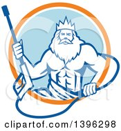 Clipart Of A Retro Man Neptune Holding Pressure Washer Wand In An Orange White And Blue Circle Royalty Free Vector Illustration
