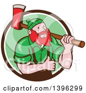Clipart Of A Cartoon Red Haired Lumberjack Paul Bunyan Carrying An Axe And Giving A Thumb Up Emerging From A Brown White And Green Circle Royalty Free Vector Illustration by patrimonio