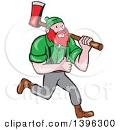 Cartoon Red Haired Lumberjack Paul Bunyan Carrying An Axe And Giving A Thumb Up