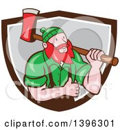 Clipart Of A Cartoon Red Haired Lumberjack Paul Bunyan Carrying An Axe And Giving A Thumb Up Emerging From A Brown White And Gray Shield Royalty Free Vector Illustration by patrimonio